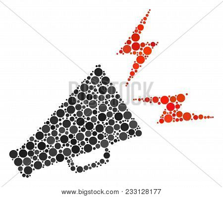 Alert Megaphone Collage Of Filled Circles In Variable Sizes And Color Tints. Round Dots Are United I
