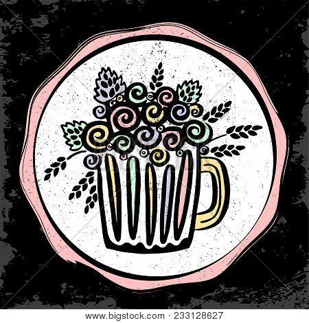 Craft Beer Hand Drawn Sticker. Outline Colorful Mug Of Craft Beer. Craft Beer Background For Your De