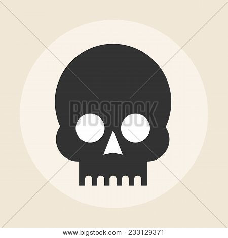 Skull Icon On Background. Stock Flat Vector Illustration.