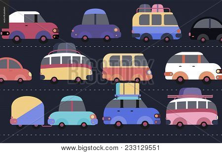 Traffic Jam Scene - City Road Full Of Cars Standing In Traffic Congestion
