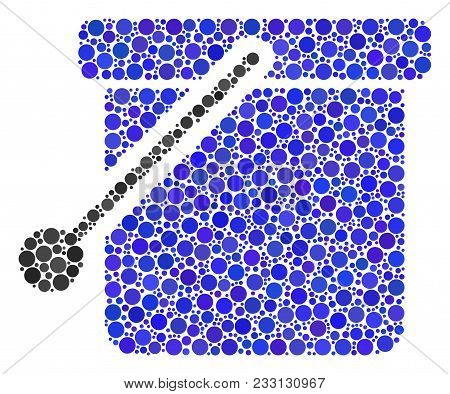 Bucket Mosaic Of Round Dots In Different Sizes And Color Tints. Round Dots Are Organized Into Bucket