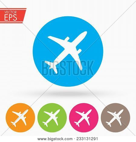 Airplane Flight Tickets Air Fly Travel Takeoff Silhouette Element. Plane Symbol. Travel Icon. Flat D
