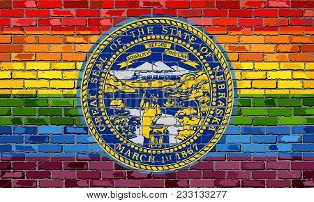 Brick Wall Nebraska And Gay Flags - Illustration, Rainbow Flag On Brick Textured Background,  Abstra