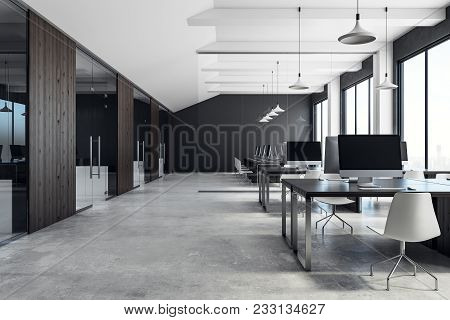 Luxury Coworking Office Interior With Equipment, Furniture, City View And Daylight. 3d Rendering