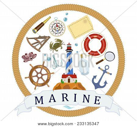 Vector Poster On Theme Of Sea Voyages From Design Symbols Of Sea Anchor, Lighthouse, Helm, Compass,