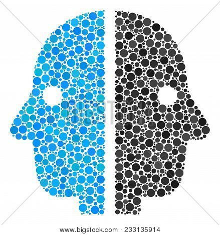 Dual Face Composition Of Circle Dots In Various Sizes And Color Hues. Round Dots Are Organized Into
