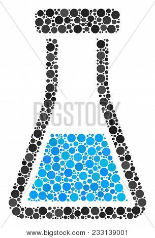 Flask Mosaic Of Dots In Different Sizes And Color Tints. Round Dots Are United Into Flask Vector Mos