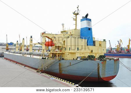 Bulk Carrier Ship In Port Of Odessa, Ukraine