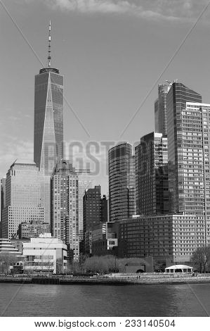 Downtown New York Monochrome Seen From The Hudson