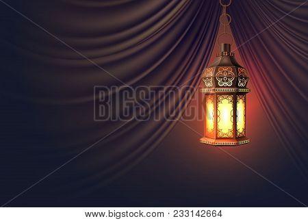 Vector Ramadan Kareem Celebration Lamp Lantern Silk Drape Curtain Realistic 3d Illustration. Arabic