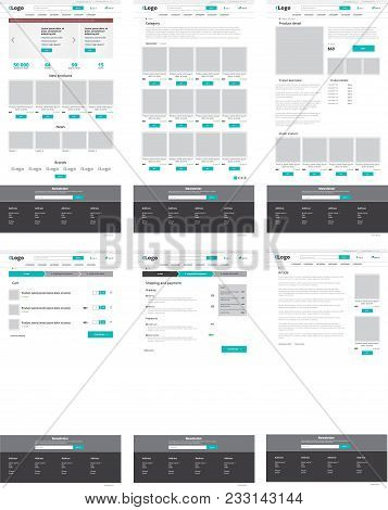Set Of Ecommerce Website Templates. Homepage, Category, Product Detail, Shopping Cart, Article - Mod