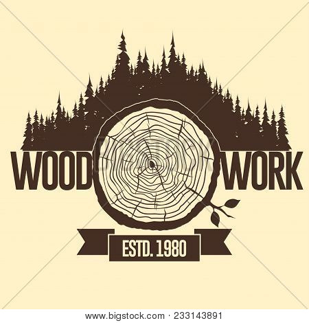 Tree Trunk Crossection, Cut Stump, Wooden Cut Circular Texture. Vector