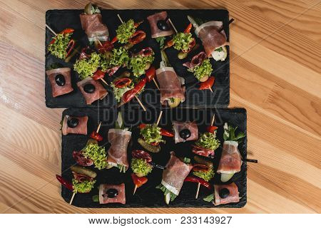 Spanish Snack, Banderillas On Skewers With Jamon, Ramses, Pear, Dorblue, Chorizo, Dried Tomato, Cham