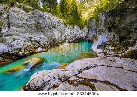 Vivid Turquoise Soca River In Triglav National Park, Julian Alps, Slovenia Europe