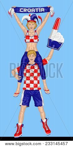 Croatian Fans Supporting Croatia Team With Scarf And Foam Finger. All The Objects Are In Different L