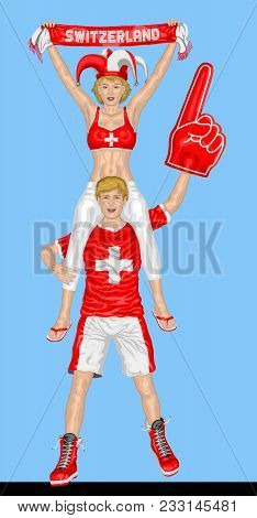 Swiss Fans Supporting Switzerland Team With Scarf And Foam Finger. All The Objects Are In Different