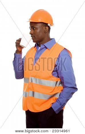 Young African constructor isolated on white. Break time