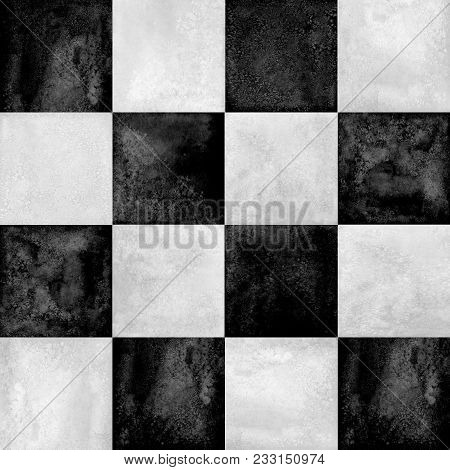Black And White Checkered Plaid Seamless Pattern. Watercolor Hand Drawn Texture Background. Watercol