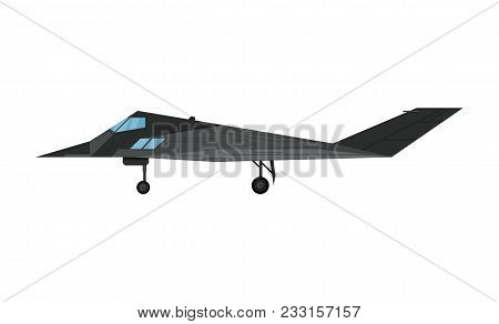 Military Jet Bomber Aircraft Isolated Icon. Modern Army Force Aviation, Air Transport, Supersonic Co