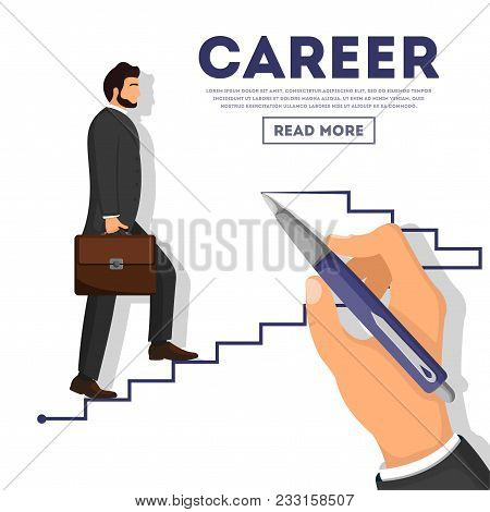 Businessman Climbing Career Ladder Poster. Business Growth And The Path To Success, Step By Step Pro