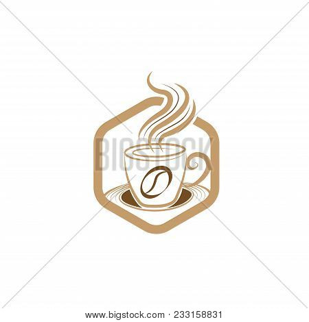 Simple Unique Coffee Cup Emblem Logo Design Vector Template. Vector Coffee Shop Logo Illustration De