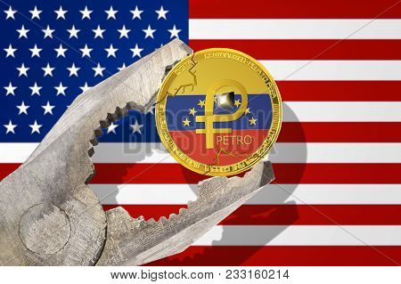 Venezuela Petro (ptr) Gold Coin Being Squeezed In Vice On The United States (usa) Flag Background; E