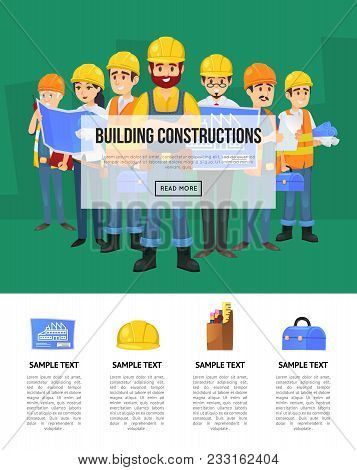 Industrial Building Company Banner With Worker Team In Safety Helmets. Engineer, Architect, Builder,