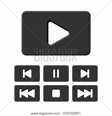 Media Player Black Icon Set. Vector Play, Stop, Pause And Other Buttons For Multimedia Devices Or Mo