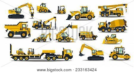 A Large Set Of Construction Equipment In Yellow. Special Machines For The Building Work. Forklifts,