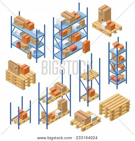 Vector Isometric Warehouse Metal Shelvings, Storage Rack, Shelf With Cardboard Delivery Shipping Pac