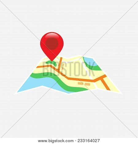 Red Road Map Pin Pointer With Roadmap Vector Icon Design. Pin Pointer Roadmap. Location Pin Illustra