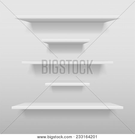 Empty White Shop Or Exhibition Shelf, Retail White Shelves Mockup. Realistic Vector Bookshelf With S