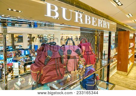 MILAN, ITALY - CIRCA NOVEMBER, 2017: Burberry bags on display at Rinascente. Rinascente is a collection of high-end stores.