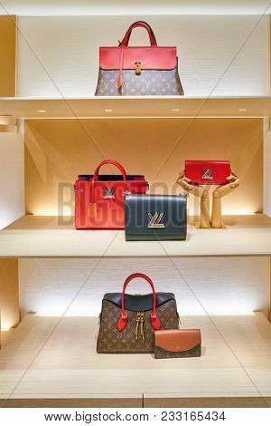 MILAN, ITALY - CIRCA NOVEMBER, 2017: bags on display at Rinascente. Rinascente is a collection of high-end stores.