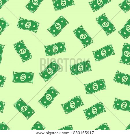 Seamless Pattern Background Money Rain Of Flying In The Air, Hand Drawn Vector Money. Cash Flying Ra