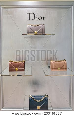 MILAN, ITALY - CIRCA NOVEMBER, 2017: Dior bags on display at Rinascente. Rinascente is a collection of high-end stores.