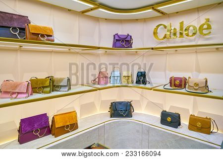 MILAN, ITALY - CIRCA NOVEMBER, 2017: Chloe bags on display at Rinascente. Rinascente is a collection of high-end stores.