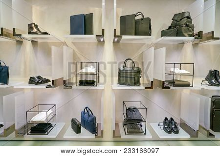 MILAN, ITALY - CIRCA NOVEMBER, 2017: bags and shoes on display at Rinascente. Rinascente is a collection of high-end stores.