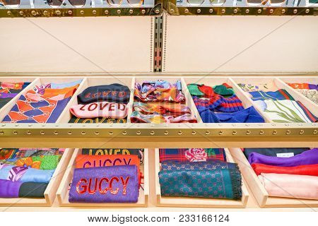 MILAN, ITALY - CIRCA NOVEMBER, 2017: Gucci luxury accessories on display at Rinascente. Rinascente is a collection of high-end stores.