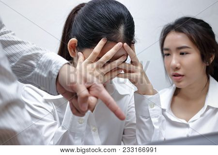 Anxious Depressed Young Asian Business Women Are Being Blamed With Boss In Workplace.