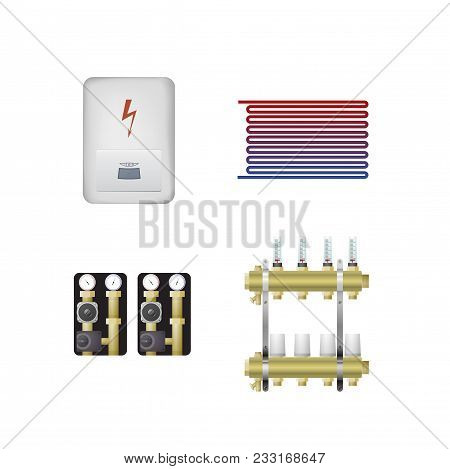 Electric Boiler Set Vector Illustration. The Hvac Equipment. Manifold, Pump, Underfloor Heating