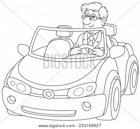 Cabriolet. Smiling Man Driving His Sport Car, A Black And White Vector Illustration In Cartoon Style