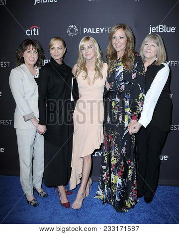 LOS ANGELES - MAR 24:  Beth Hall, Jaime Pressly, Anna Faris, Allison Janney, Mimi Kennedy at the 2018 PaleyFest Los Angeles -