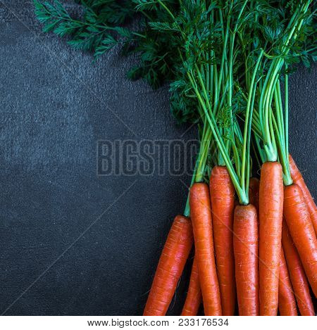 A Bunch Of Carrots. Fresh Raw Carrots With Stems. Garden Carrots On A Black Background