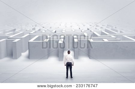 Businessman trying to decide which entrance to choose at the maze