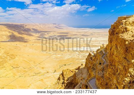 Masada, Israel - March 16, 2018: Remains Of The Fortress Of Masada, With Visitors, And Landscape, On