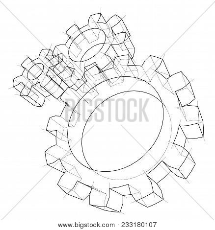 3d Gear Wheel. Vector Rendering Of 3d. Wire-frame Style. The Layers Of Visible And Invisible Lines A