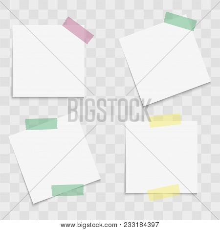 Set Of Note Papers With Sticky Tapes. Vector