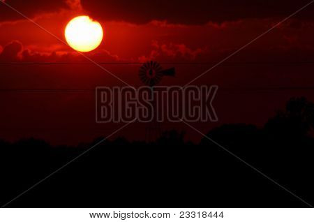 Windmill Silhouette Red Sunset