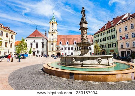 Bratislava, Slovakia - May 11, 2017: Bratislava Old Town Hall Is A Complex Of Buildings In The Old T